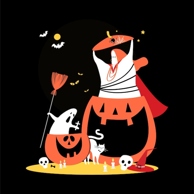 Illustrazione di concetto di giorno di halloween carino