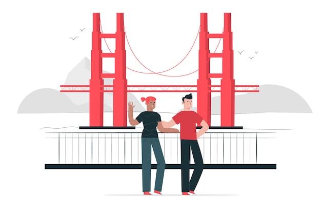Illustrazione di concetto di golden gate bridge