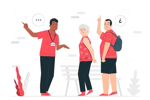 Illustrazione di concetto di guida turistica