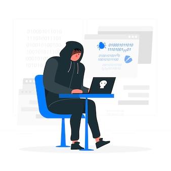Illustrazione di concetto di hacker