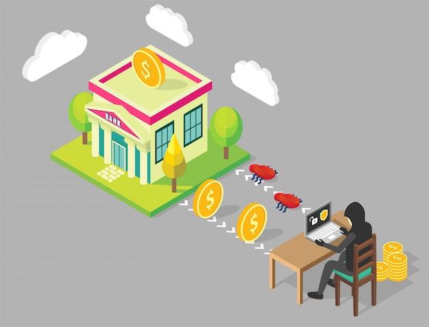 Illustrazione di concetto di hacking della banca