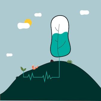 Illustrazione di concetto di impulso di vita eco