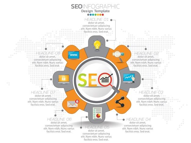Illustrazione di concetto di infografica di seo infografica
