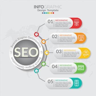 Illustrazione di concetto di infographic del infographics di seo con il modello della disposizione di affari.