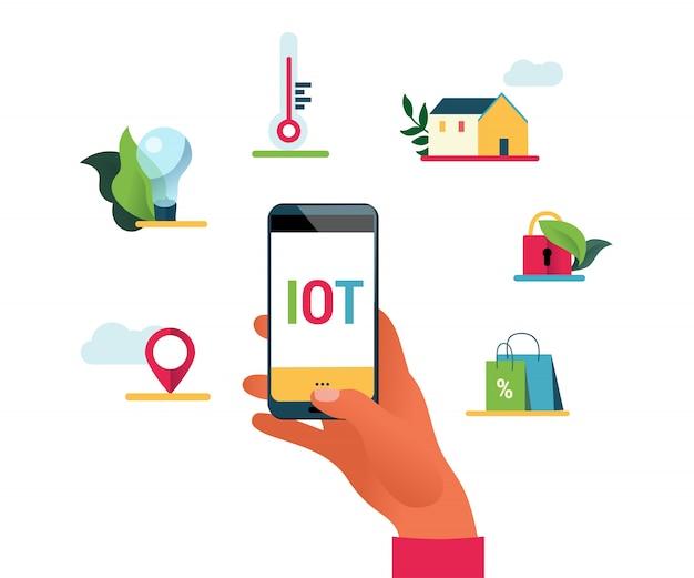 Illustrazione di concetto di internet of things. mano che tiene il telefono per controllare le cose. concetto di domotica, stile piatto.