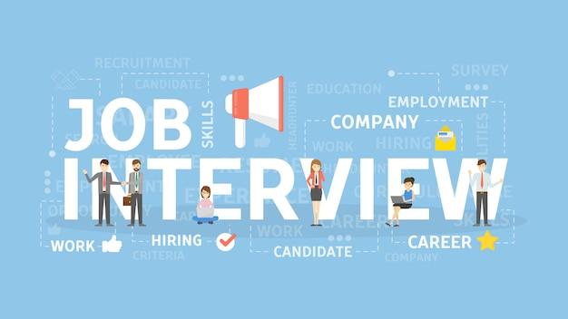 Illustrazione di concetto di intervista di lavoro. domanda e cv.