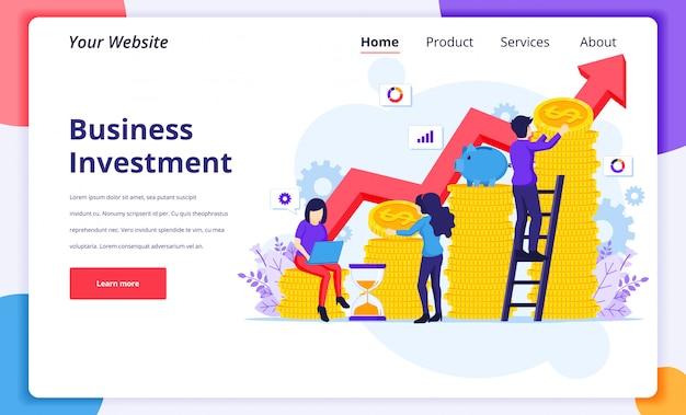 Illustrazione di concetto di investimento aziendale, la gente che raccoglie i soldi delle monete per crescita il loro investimento per la pagina di atterraggio del sito web