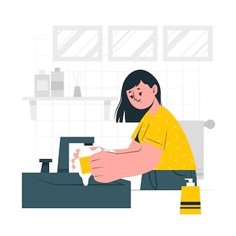 Illustrazione di concetto di lavaggio a mano