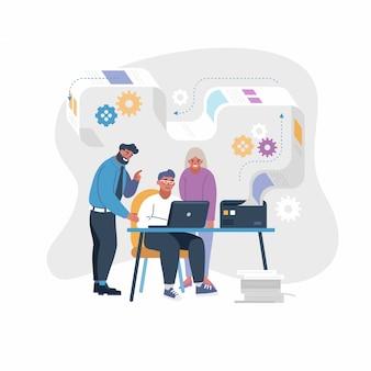 Illustrazione di concetto di lavoro di squadra di progetto della gente di affari