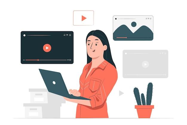 Illustrazione di concetto di lettore multimediale