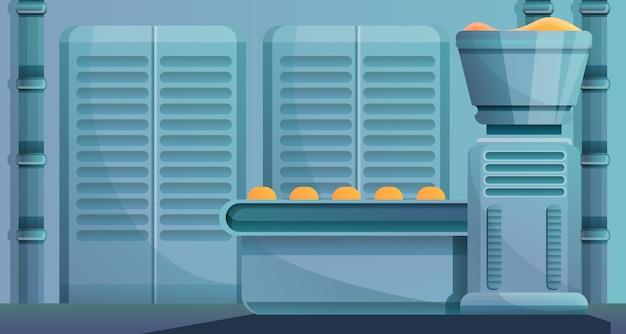 Illustrazione di concetto di linea di fabbrica di panetteria, stile del fumetto