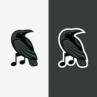 Illustrazione di concetto di logo musicale di corvo.