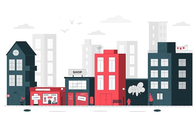 Illustrazione di concetto di magazzini chiusi (città vuota)