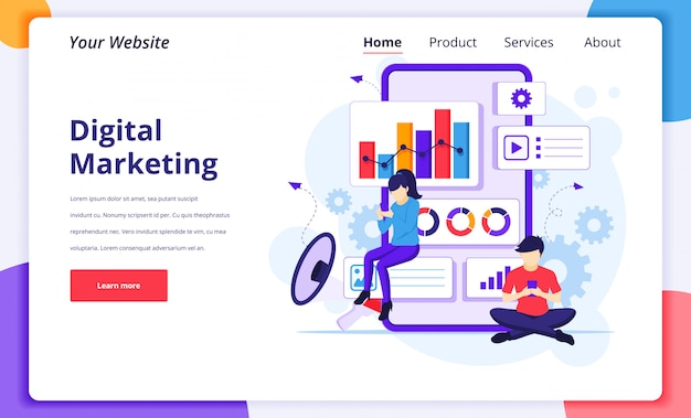 Illustrazione di concetto di marketing digitale, la gente lavora vicino a uno smartphone gigante per la pagina di destinazione del sito web