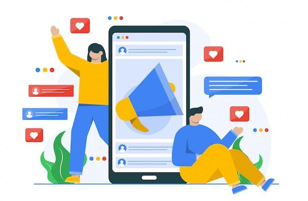 Illustrazione di concetto di marketing digitale per modello di pagina di destinazione