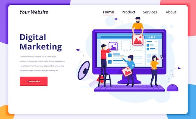 Illustrazione di concetto di marketing digitale, persone che mettono immagini di contenuti per promuovere prodotti online per la pagina di destinazione del sito web