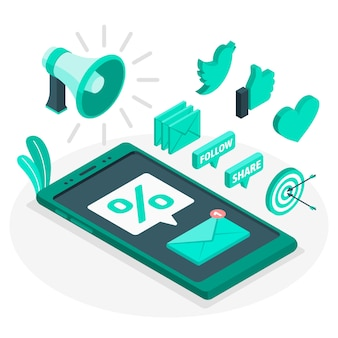 Illustrazione di concetto di marketing mobile