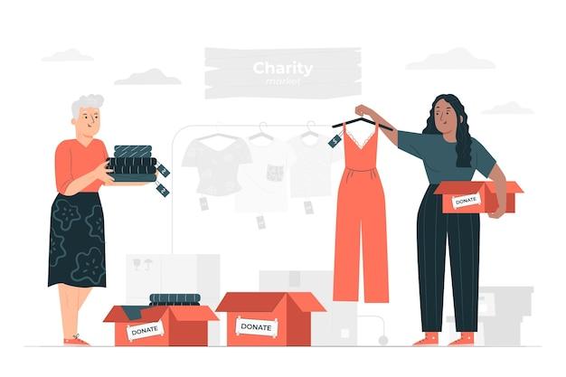 Illustrazione di concetto di mercato di beneficenza