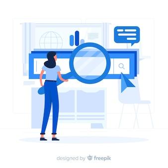 Illustrazione di concetto di motori di ricerca