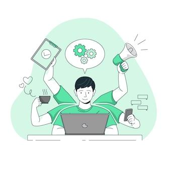 Illustrazione di concetto di multitasking