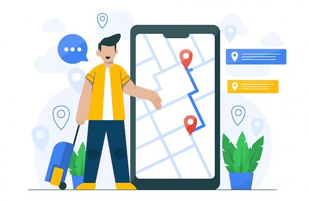 Illustrazione di concetto di navigazione per il modello della pagina di destinazione
