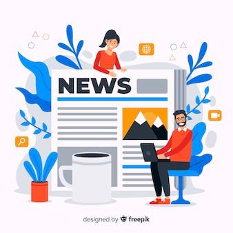 Illustrazione di concetto di notizie nella progettazione piana