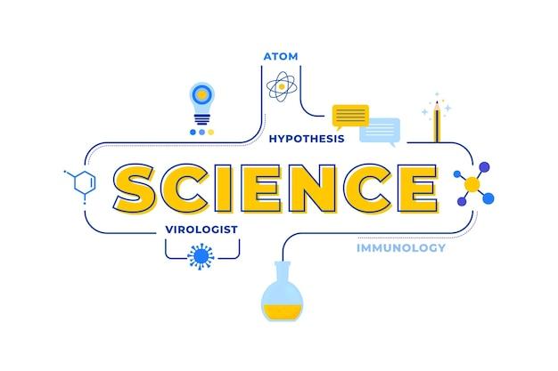 Illustrazione di concetto di parola di scienza con l'insieme di elementi