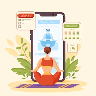 Illustrazione di concetto di personal trainer online