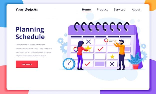 Illustrazione di concetto di pianificazione aziendale, la gente che compila il programma su un calendario gigante, lavori in corso per la pagina di destinazione del sito web
