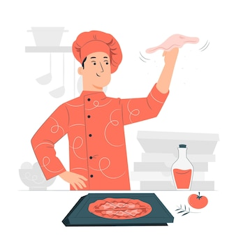 Illustrazione di concetto di pizzaiolo