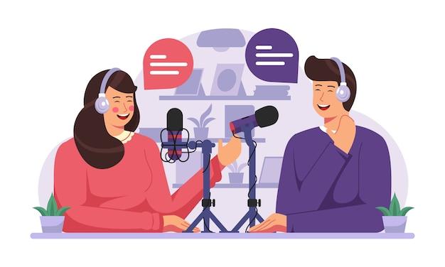 Illustrazione di concetto di podcast