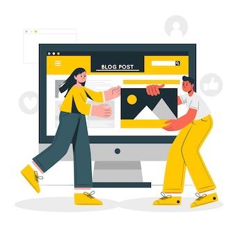 Illustrazione di concetto di post di blog