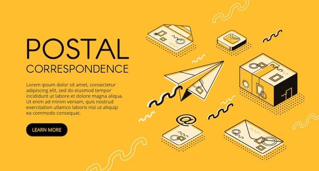 Illustrazione di concetto di posta e corrispondenza. ufficio postale con buste lettera