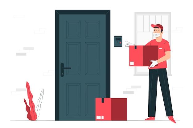 Illustrazione di concetto di prevenzione di consegna di coronavirus