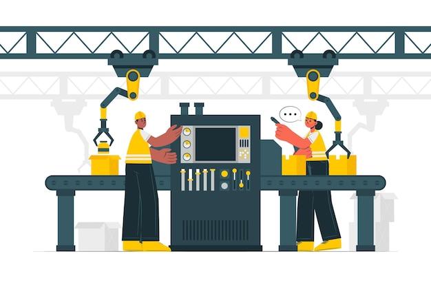 Illustrazione di concetto di processo di fabbricazione