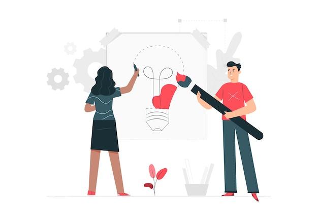 Illustrazione di concetto di processo di progettazione