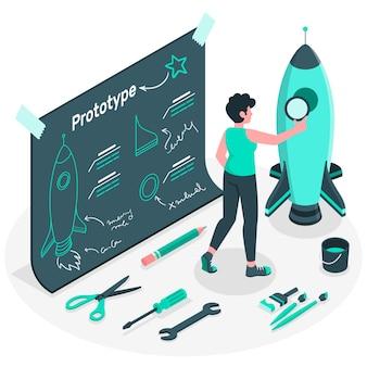 Illustrazione di concetto di processo di prototipazione