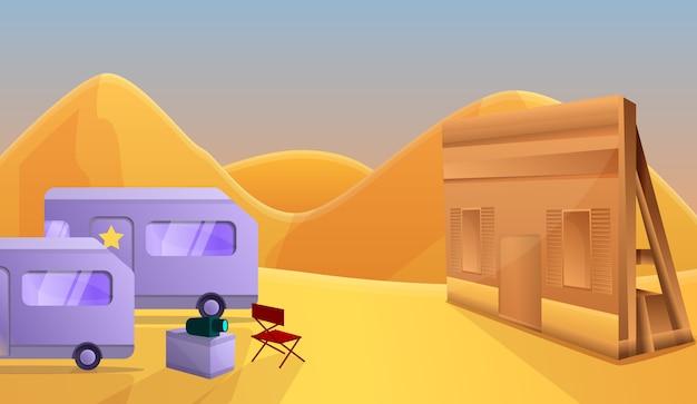 Illustrazione di concetto di produzione cinematografica del salone nel deserto, stile del fumetto