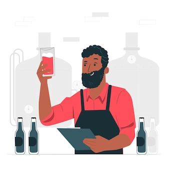 Illustrazione di concetto di produzione di birra artigianale