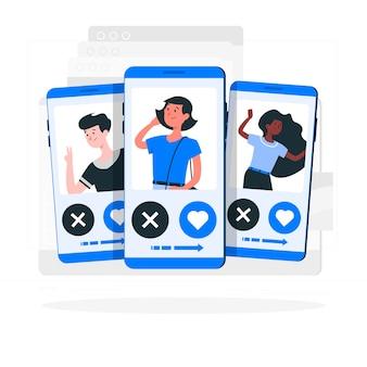 Illustrazione di concetto di profili di scorrimento
