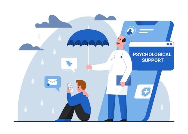 Illustrazione di concetto di psicologia psicoterapia, carattere di terapista medico del fumetto che protegge la salute mentale del paziente su bianco