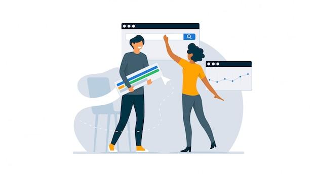 Illustrazione di concetto di pubblicità di ottimizzazione del motore di ricerca