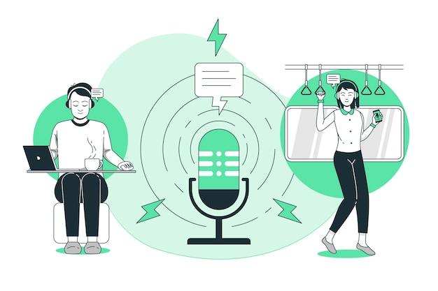 Illustrazione di concetto di pubblico podcast