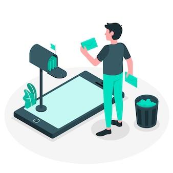 Illustrazione di concetto di pulizia di posta in arrivo