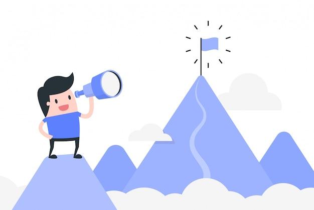 Illustrazione di concetto di raggiungimento obiettivo.
