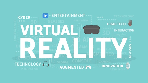 Illustrazione di concetto di realtà virtuale. idea di intrattenimento, tecnologia e innovazione.
