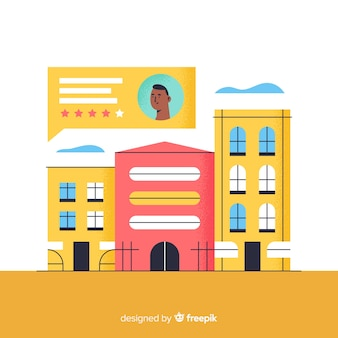 Illustrazione di concetto di recensione di hotel in design piatto