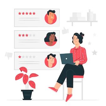 Illustrazione di concetto di recensione online