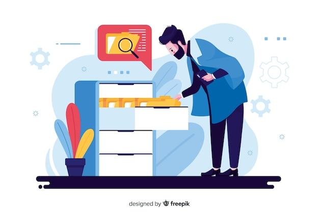Illustrazione di concetto di ricerca di file