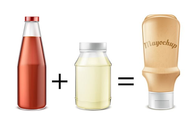 Illustrazione di concetto di ricetta di salsa. ketchup di pomodoro mescolato con maionese per ottenere mayochup